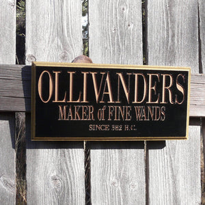 Wand Maker Sign - Black Gold Painted and Carved Wood