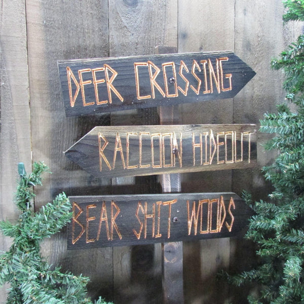 Forest Woods Directional Lawn Ornament Sign - Deer Crossing Raccoon Bear Woods - Carved Cedar Wood