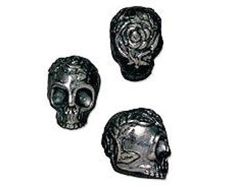 Rose Skull Small Vertical Hole Beads - Qty 5 - TierraCast Black Ox Plated Lead Free Pewter *DC