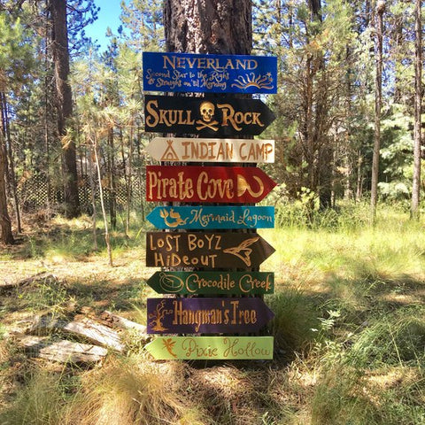 Peter Pan Fantasy Story Signs -  Carved Cedar Directional signs