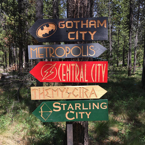Comic Book Super Hero Movie Directional Signs - Carved Cedar Wood