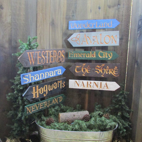 Fantasy Land Directional Signs - Carved Cedar Wood Signs