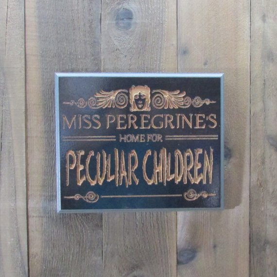 Miss Peregrine's Home for Peculiar Children Inspired Movie Sign - Black & Charcoal with Carved Wood