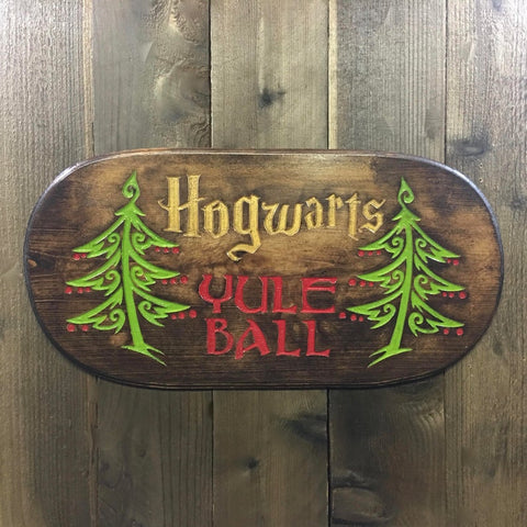Yule Ball Sign - Engraved Pine Wood