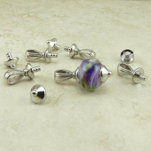 Nouveau Bail Glue In with Bottom Cap - Qty 4 Sets - TierraCast Rhodium Silver Plated Lead Free Pewter
