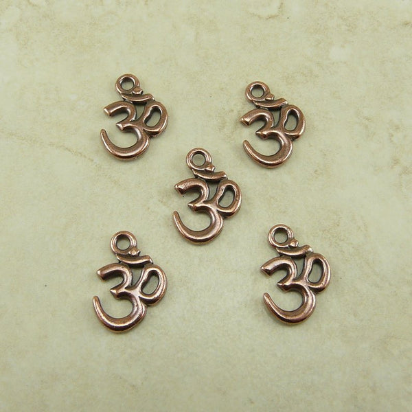Om Charm - Qty 5 charms - TierraCast Copper Plated Lead Free Pewter