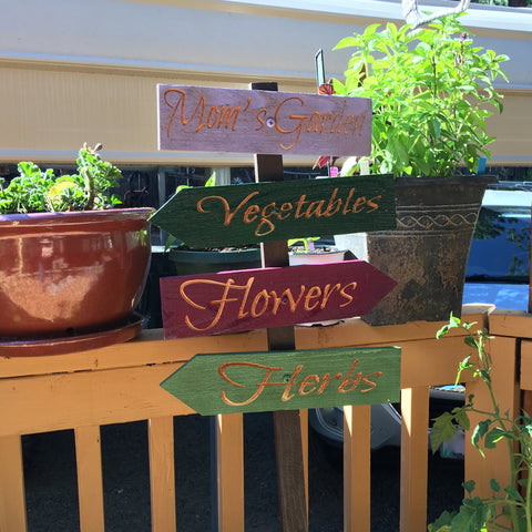 Mom's Garden Ornament Sign Set - Vegetable Fruit Herb Flower - Carved Cedar Wood