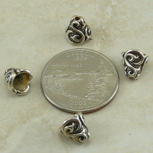Lilly Cone Bead Caps - Qty 6 - TierraCast Silver Plated LEAD FREE Pewter