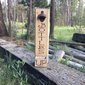 Bottles Up Beer Bottle Opener - Brew Cap Catcher Wall Mounted Man Cave - Pine Wood Weathered Look