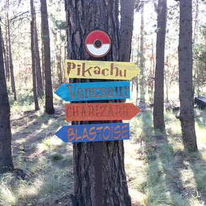Pokemon Go Sign Set - Directional Cedar Wood Decor