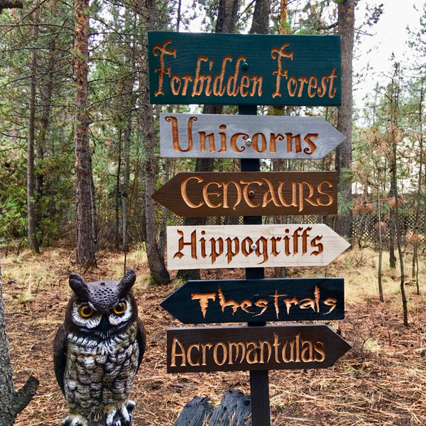 Harry Potter Forbidden Forest Inspired Lawn Ornament Sign - Unicorns Hippogriff Centaur Acromantuala Thestral - Directional Cedar Wood Decor