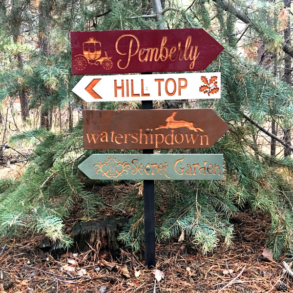 Literature Directional Signs - Pemberley Watership Down Hill Top Secret Garden - Carved Cedar Wood