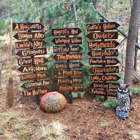 Harry Potter Choose Your Own Sign or Set - Hogwarts Azkaban Hogsmeade Diagon Alley Hagrids Hut Forbidden Forest Directional Cedar Wood Decor