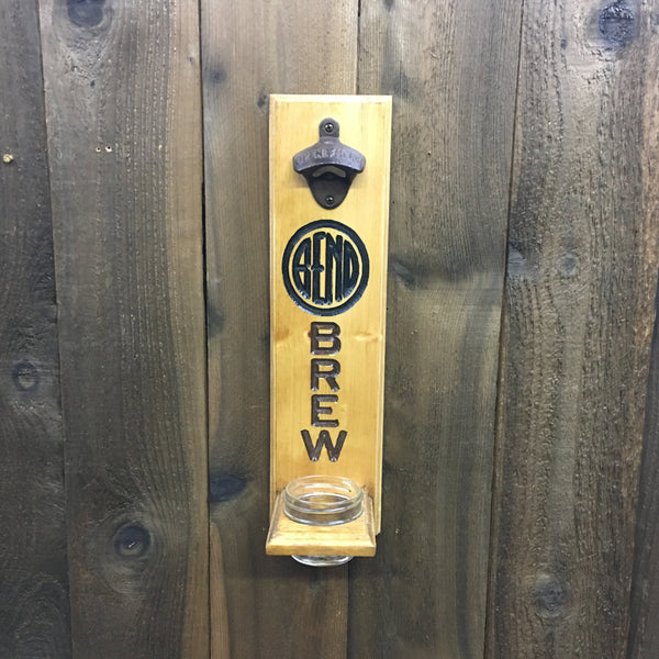 Bend Oregon Brew Beer Bottle Opener - Wall Mounted Cap Catcher - Pine Wood