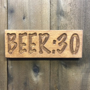 Small Beer 30 - Engraved Pine Wood Sign Plaque