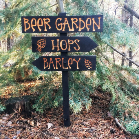 Beer Garden Directional Lawn Signs Decr Decoration Cedar Wood Decor