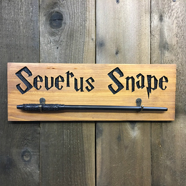 Wand Holder - Carved Cedar Wood Plaque Hanger