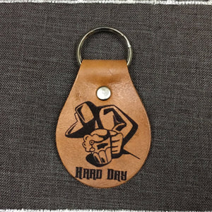 Hard Day at Work Beer Chain Fob Keychain - Laser Engraved Brown Tan Leather