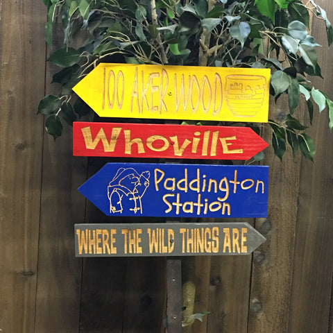 Childrens Story Direction Signs - Carved Cedar Wood Decor