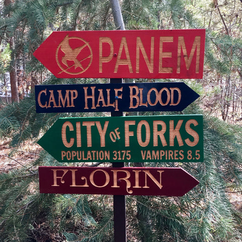 Young Adult Story Direction Signs - Panem Forks Florin Camp Half Blood Princess Bride