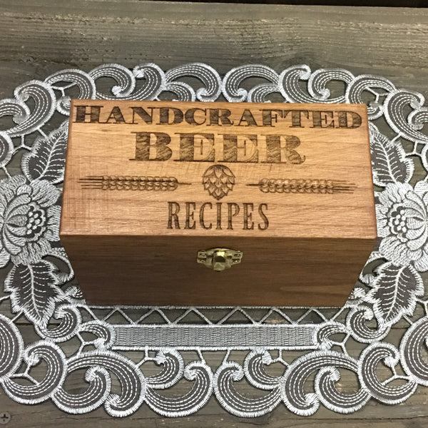 Beer Recipe Box - Home Brew Craft Homebrew - Laser Engraved Wood Box