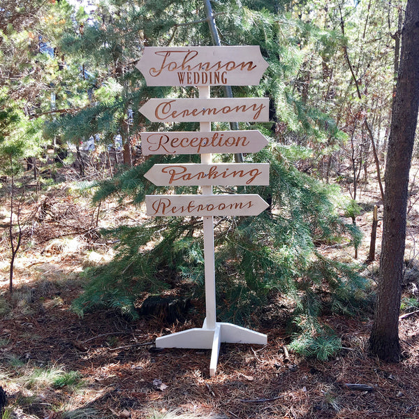 Personalized Wedding Directional Signs - Carved Cedar Wood