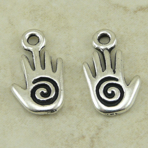 Small Spiral Hand Charm - Qty 5 Charms - TierraCast Silver Plated Lead Free Pewter