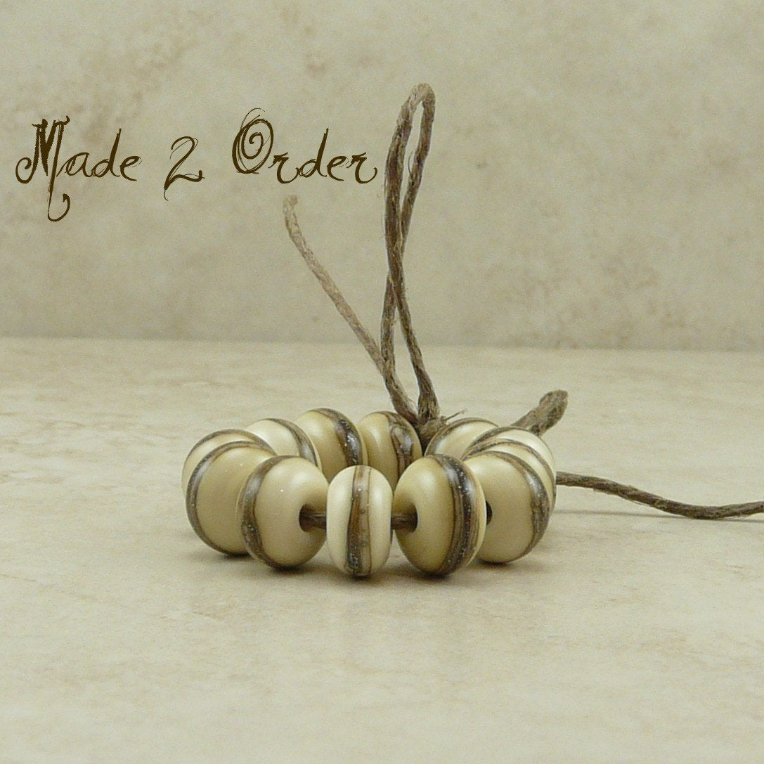 Made to Order - Silvered Ivory Spacer Beads - Lampwork Bead Set by Dragynsfyre Designs - SRA