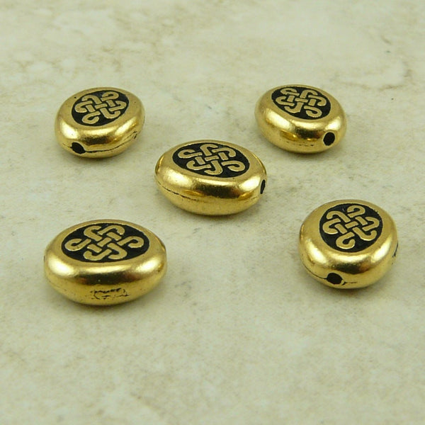 Small Endless Oval Celtic Knot Beads - Qty 5 Beads -TierraCast 22kt Gold-Plated LEAD FREE Pewter