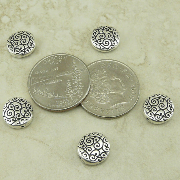 Round Scroll Beads - Qty 5 Beads - TierraCast Silver Plated Lead Free Pewter