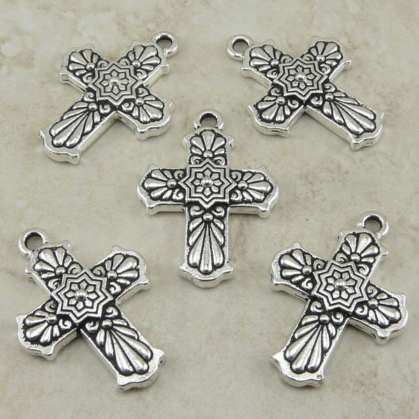 Talavera Ornate Cross Pendant Charms - Qty 5 Charms - Tierra Cast Silver Plated Lead Free Pewter