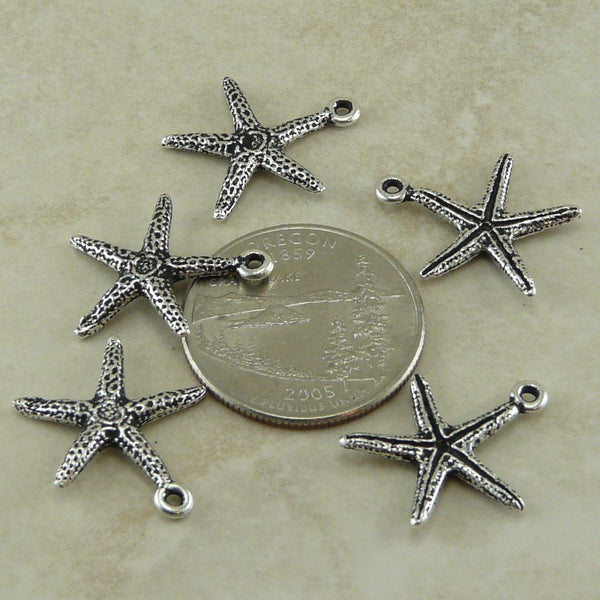 Seastar Charm - Qty 5 Charms - TierraCast Silver Plated LEAD FREE Pewter