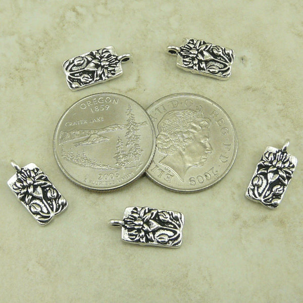 Floating Lotus Charms - Qty 5 Charms - TierraCast Antiqued Silver Plated Lead Free Pewter