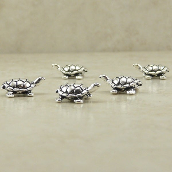 Turtle Beads - Qty 5 Beads - TierraCast Lead Free Silver plated Pewter