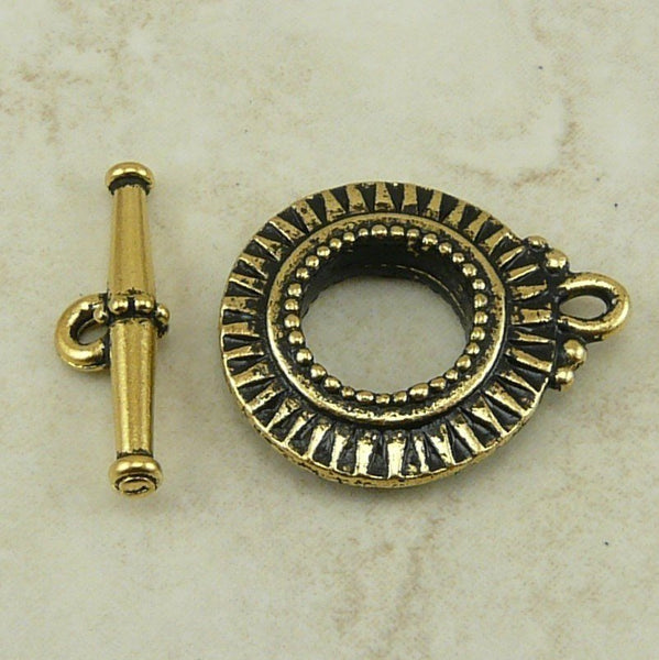 Sunburst Toggle Clasp - Qty 1 Clasp - TierraCast 22kt Gold Plated LEAD FREE Pewter