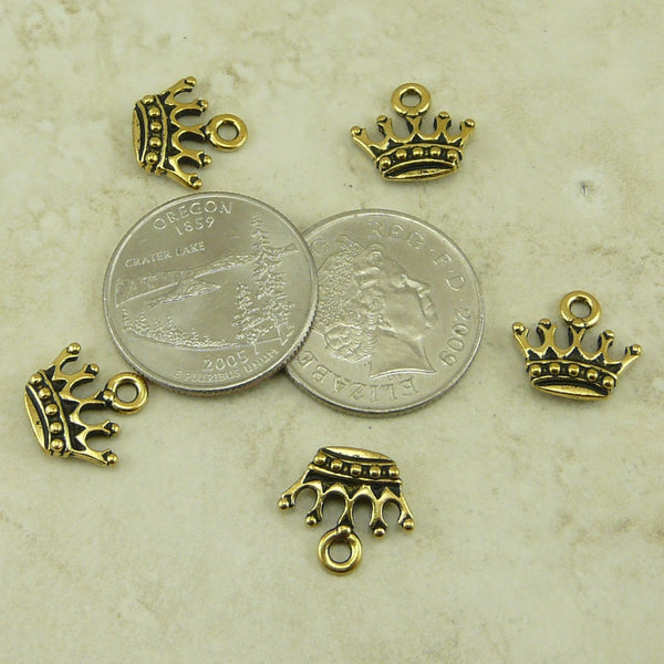 King's Crown Charms - Qty 5 Charms - TierraCast 22kt Gold Plated Lead Free Pewter
