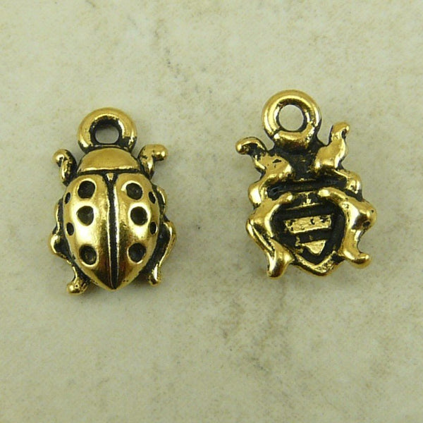 Lady Bug Charms - Qty 5 Charms - TierraCast 22kt Gold Plated Lead Free Pewter