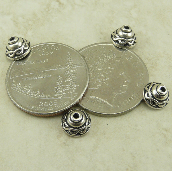 8mm Celtic Knot Bead Caps - Qty 6 caps - TierraCast Silver Plated Lead Free Pewter
