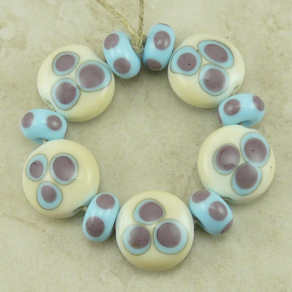 Pastel Dots - Lampwork Lentil Bead Set by Dragynsfyre Designs - SRA