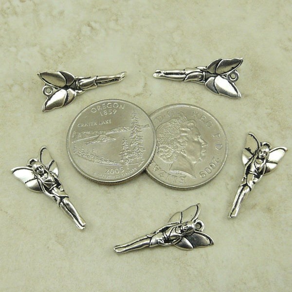 Woodland Fairy Charm Drop - Tierra Cast Silver Plated Lead Free Pewter - I ship internationally - 2229-12