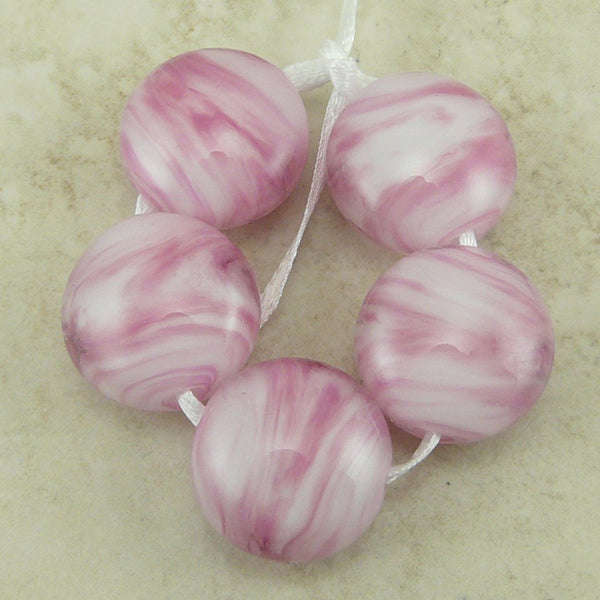 Pretty in Pink - Lampwork Lentil Bead Set by Dragynsfyre Designs - SRA