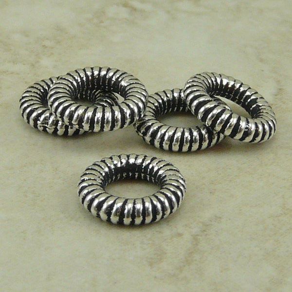 10mm Large Coiled Ring Bead or Connector - Qty 5 Rings - TierraCast Silver Plated LEAD FREE Pewter