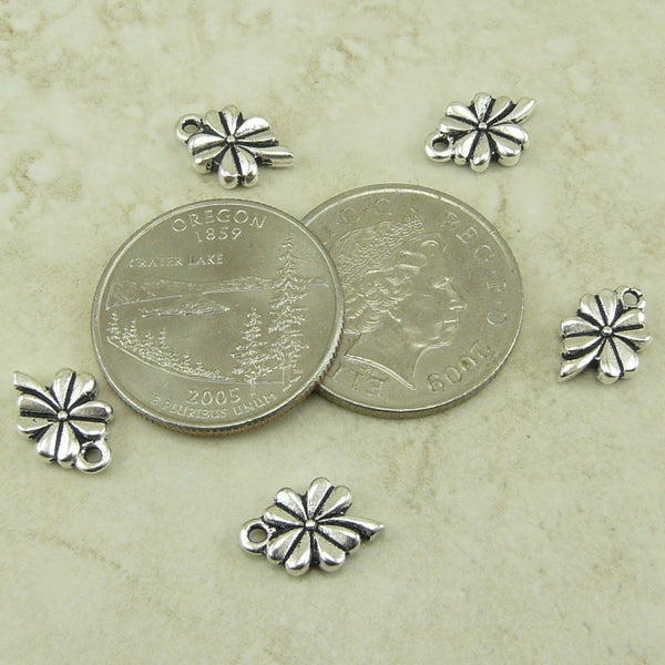 4 Leaf Clover Shamrock Charms - Qty 5 Charms - TierraCast Silver Plated lead free pewter