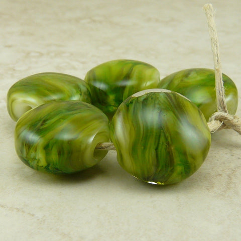 Verde Green- Lampwork Lentil Bead Set by Dragynsfyre Designs - SRA