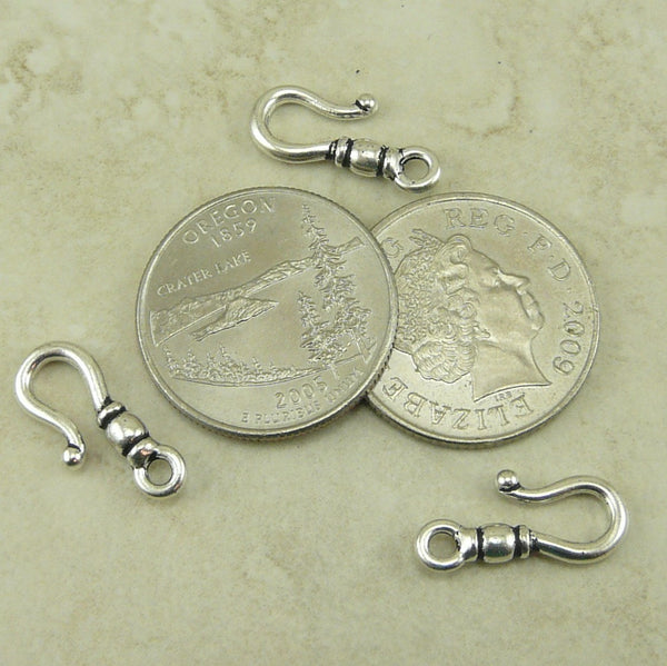 Classic Hook Clasp - Qty 3 Hooks - TierraCast Fine Silver Plated Lead-Free Pewter