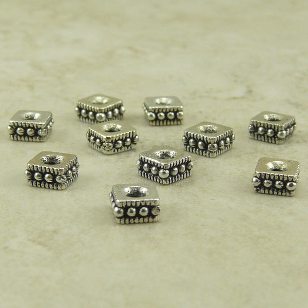 4mm Rococo Square Spacer Beads - Qty 10 Beads - TierraCast Silver Plated Lead Free Pewter