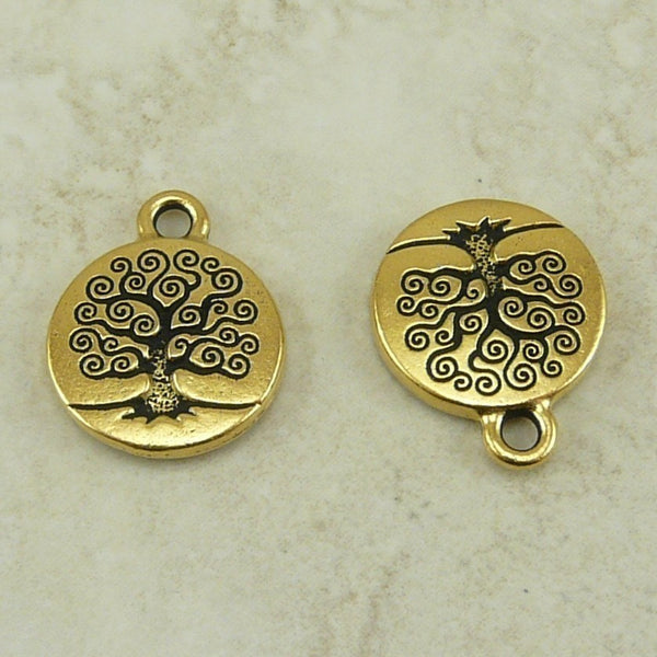 Tree of Life Small Charm - Qty 5 Charms - Tierra Cast 22kt Gold Plated Lead Free Pewter