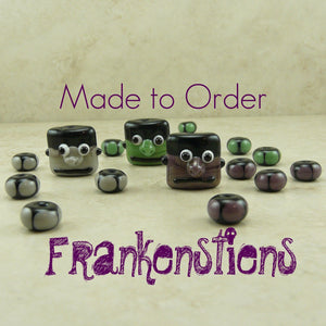 Frankenstein Monster Halloween - Made To Order -  Lampwork Bead Set by Dragynsfyre Designs - SRA