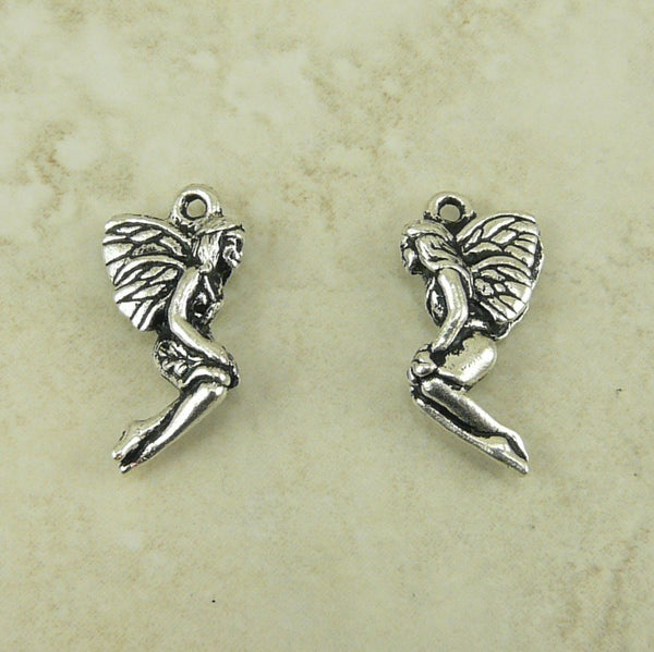 Leaf Fairy Charm Drop - Qty 5 Charms - TierraCast Silver Plated LEAD FREE Pewter