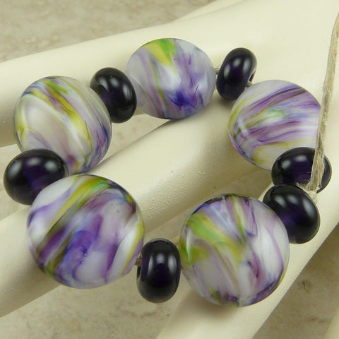 Tropical Flowers - Lampwork Lentil Bead Set by Dragynsfyre Designs - SRA